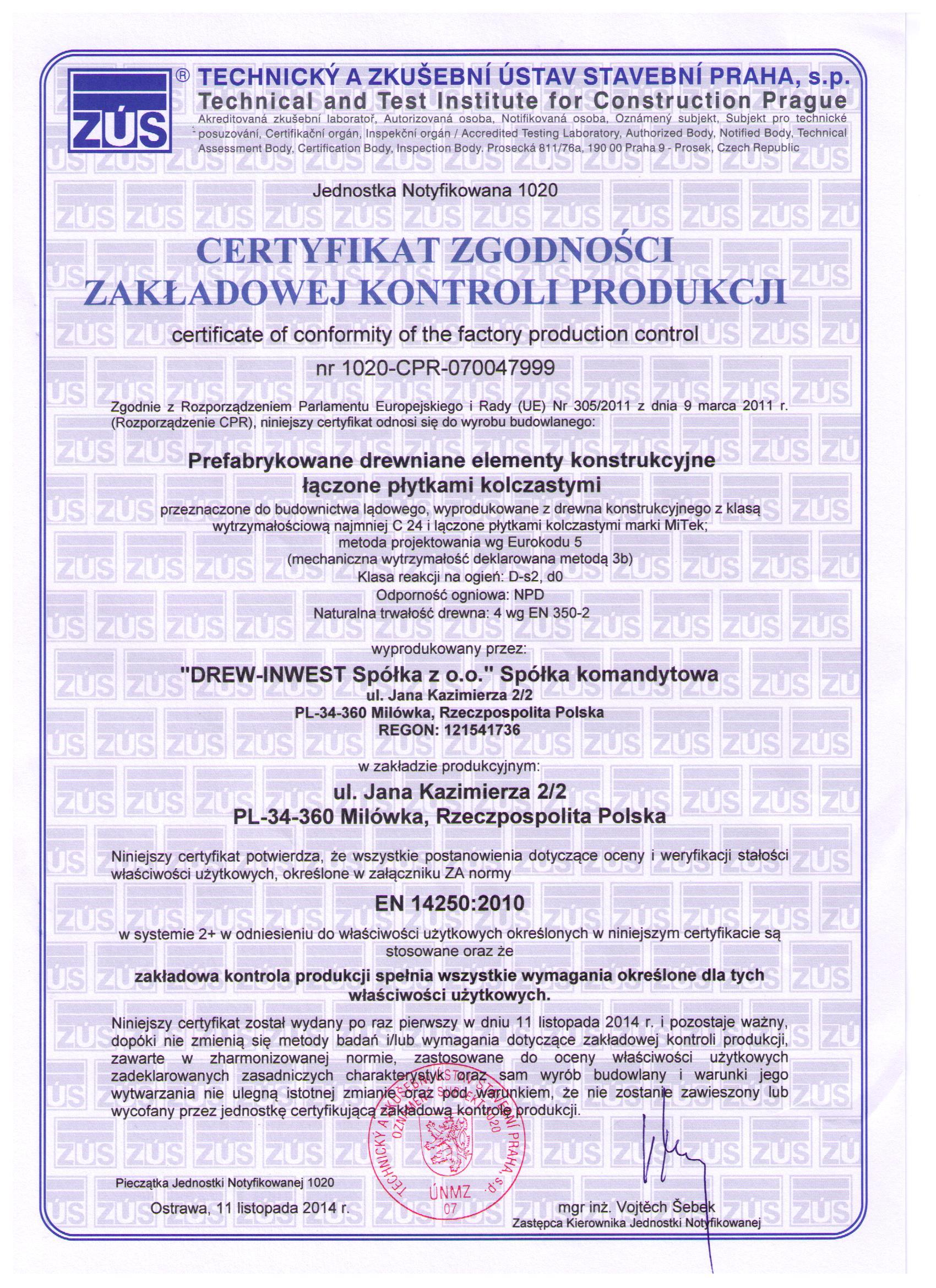 Domy szkieletowe śląsk certyfikat1